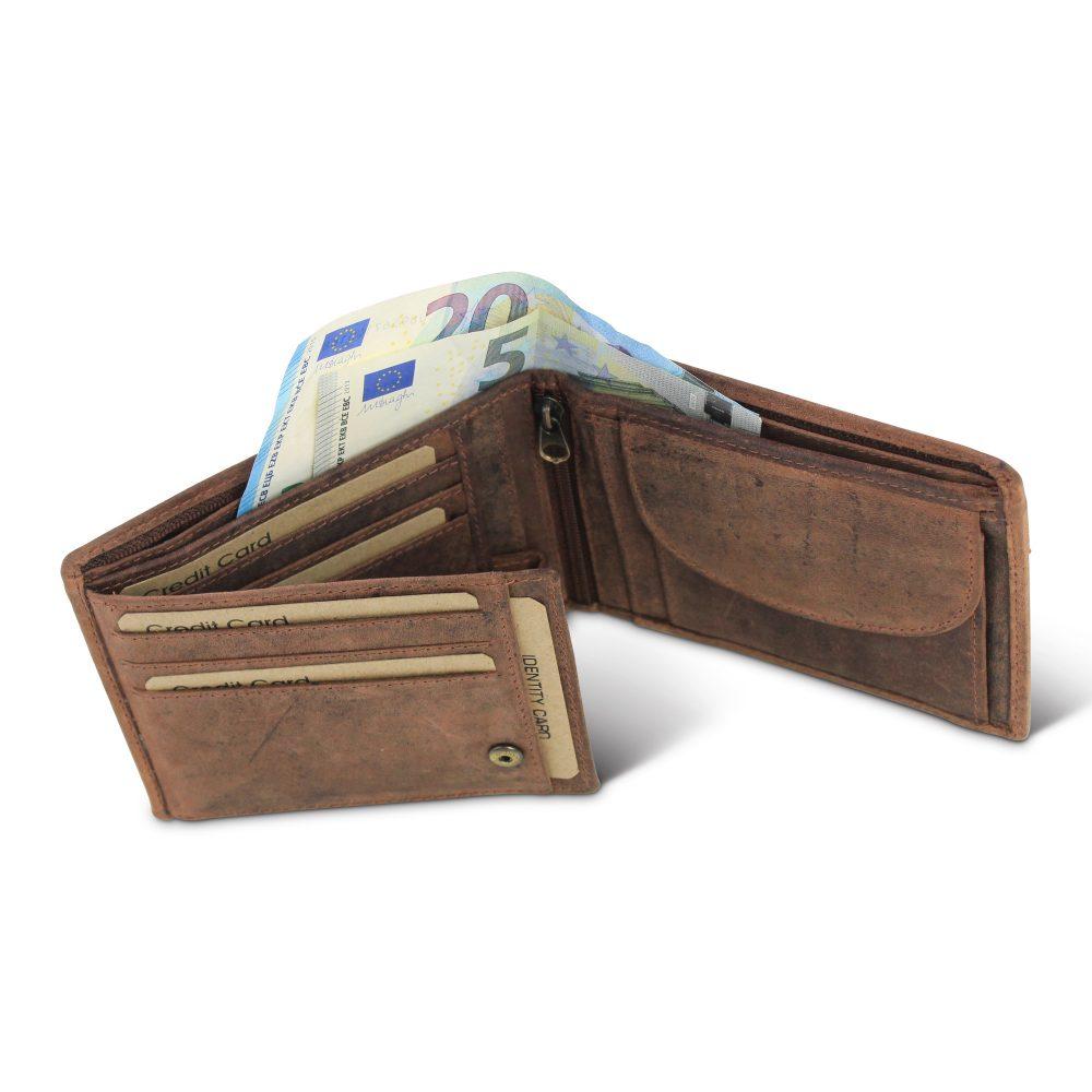 groothandel heren-portemonnee-bruin-hunter-rfid-voorkant